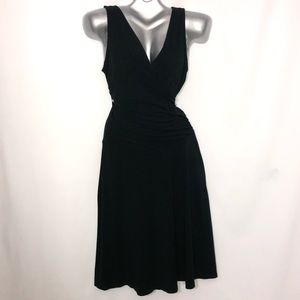 CAbi side ruching crossover bust flare skirt dress